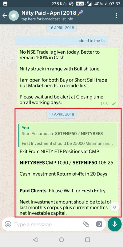 NIFTY ETF PROFIT BOOKING