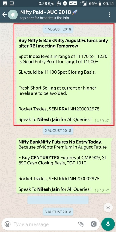 Nifty - 1 August 2018