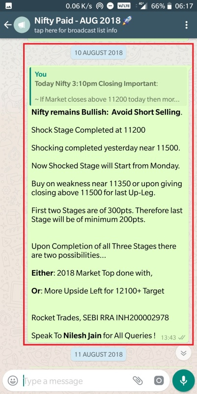 Nifty - 10 August 2018