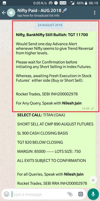 Nifty - 24 August 2018