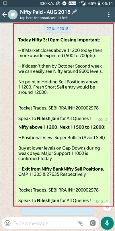 Nifty - 27 July 2018