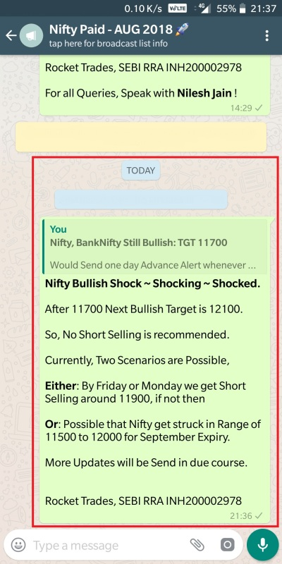 Nifty - 28 August 2018