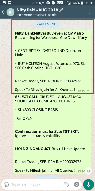 Nifty - 7 August 2018