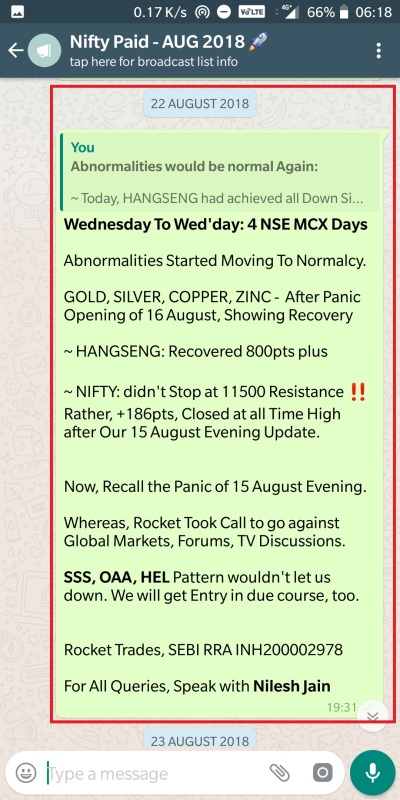 Nifty (MCX) - 22 August 2018