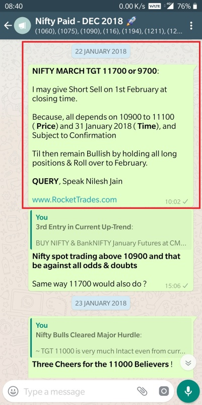 22 january 2018 - sell adavnce alert