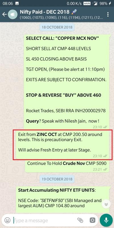 zinc exit 18 october