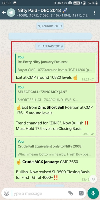 11 JANAURY - NIFTY EXIT AT 10820