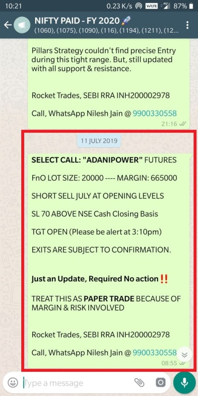 ADANIPOWER SHORT SELL