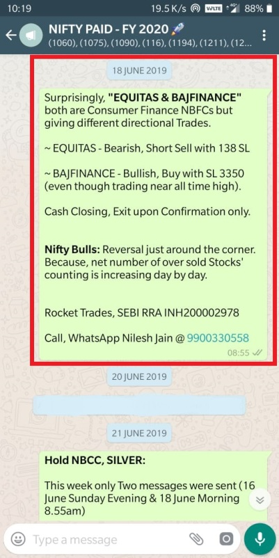 BAJFINANCE BUY, EQUITAS SHORT SELL