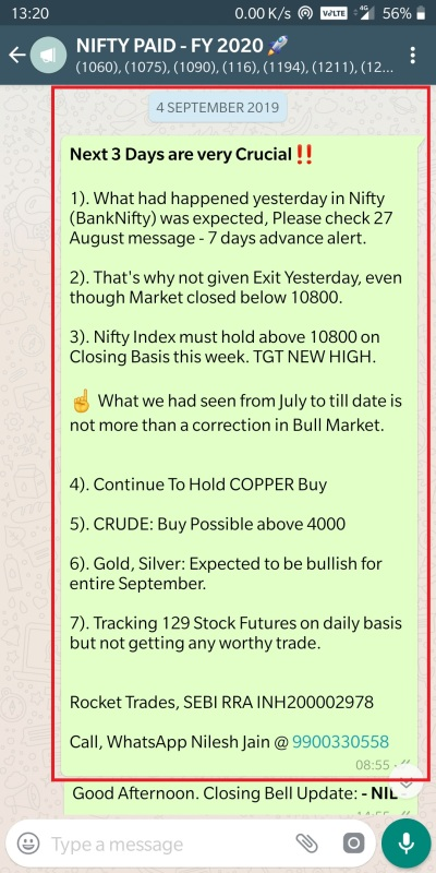 Second Time Closed below 10800 on 3rd September 2019