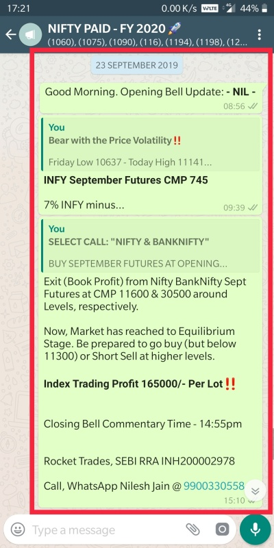 nifty banknifty selling profit booking message