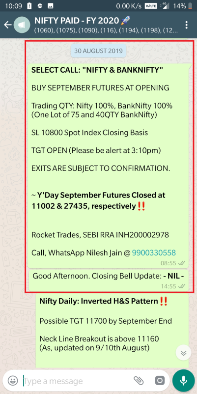 nifty banknifty buying levels message