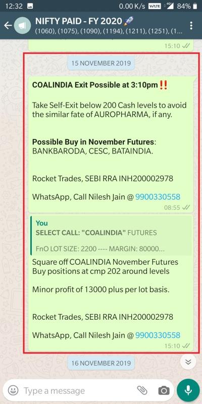NSE STOCK FUTURES - COALINDIA EXIT