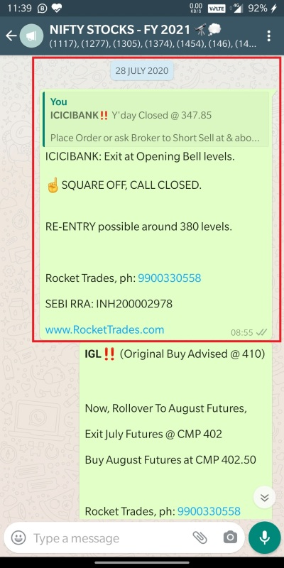 ICICIBANK - SHORT SELL EXIT