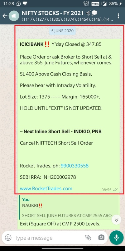 ICICIBANK - SHORT SELL - JUNE